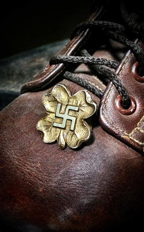 Pre WWII Antique Good Luck Four Leaf Clover Swastika Pin