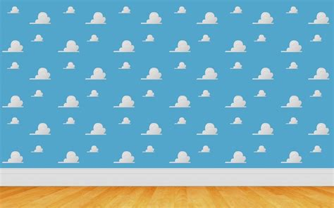 7x5FT Toy Story Cartoon White Clouds Blue Sky Wooden Floor