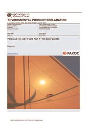 Paroc AST E, AST F and AST F+ fire proof panels - EPD Norge