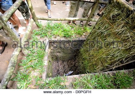 Trap with metal spikes, Viet Cong tunnel system in Cu Chi